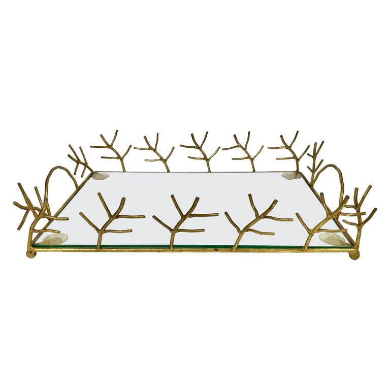 Serving Tray in Glass and Golden Metal Branches Maison Baguès Style France 1970s For Sale