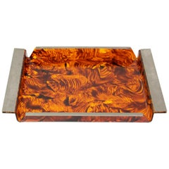 Serving Tray Tortoise Lucite, 1970s