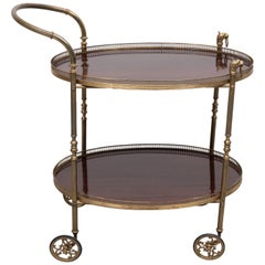 Serving Trolley Brass Mahogany, 1950s, France