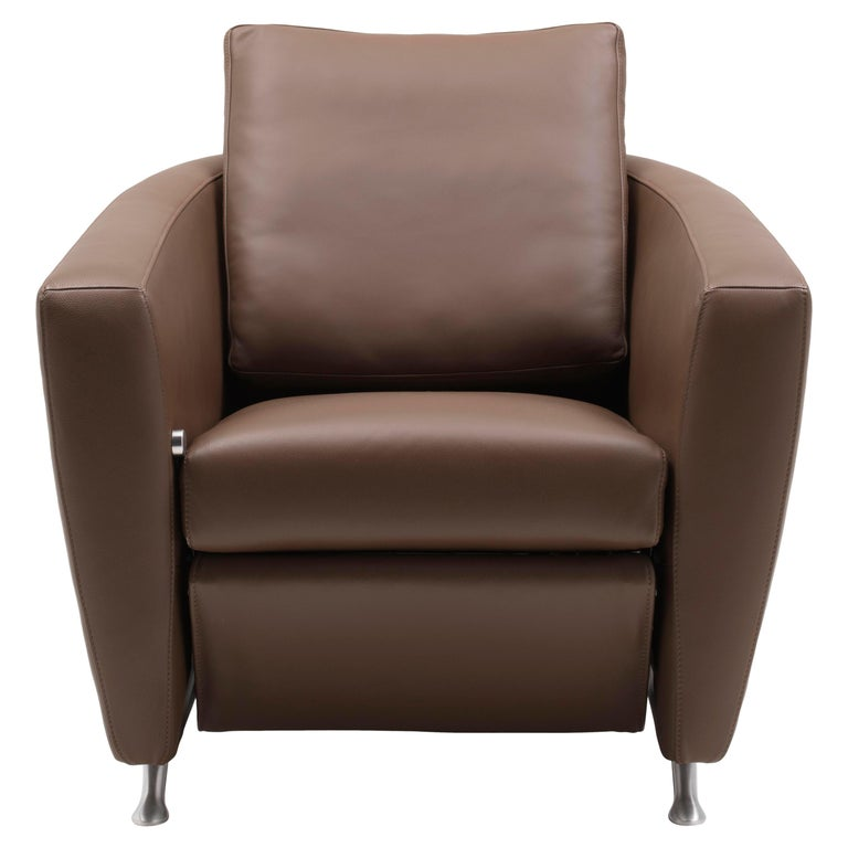 For Sale: Brown (Whisky) Sesam Adjustable Reclining Leather Armchair by FSM
