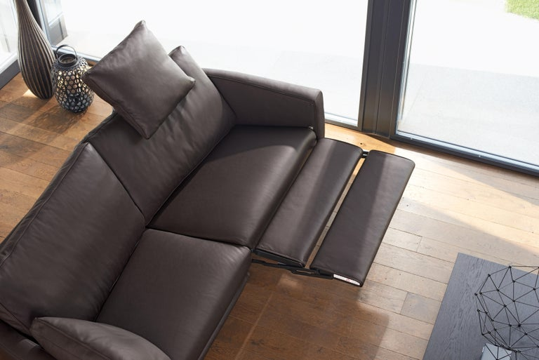 Swiss Sesam Adjustable Reclining Leather Sofa by FSM For Sale