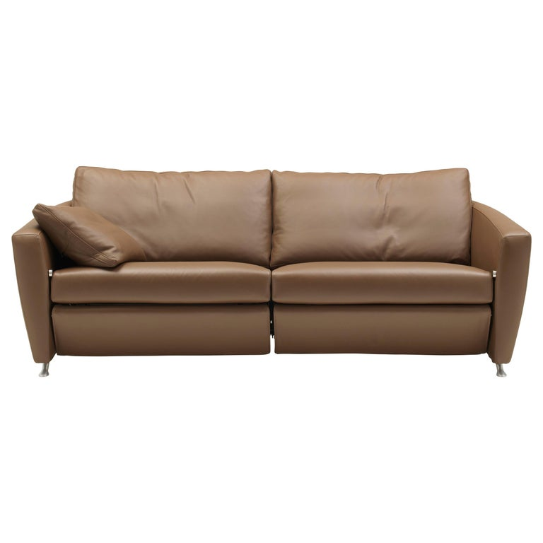 For Sale: Brown (Cashmere) Sesam Adjustable Reclining Leather Sofa by FSM