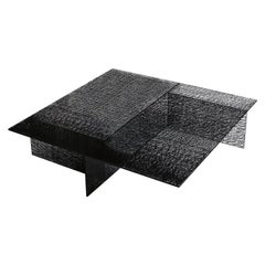 Sestante Black Glass Coffee Table, Made in Italy, In stock in Los Angeles