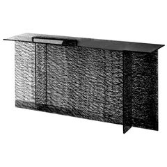 In Stock in Los Angeles, Sestante Glass Console with Motifs by Emilio Nanni