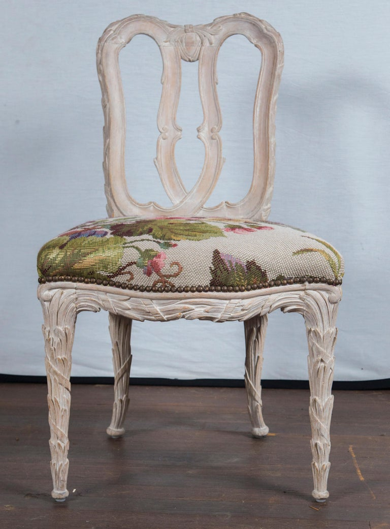 Set of 10 Carved Wood Dining Chairs, Serge Roche Style For Sale 4