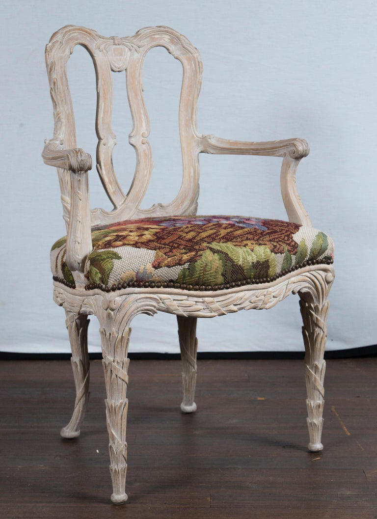 Rococo Set of 10 Carved Wood Dining Chairs, Serge Roche Style For Sale