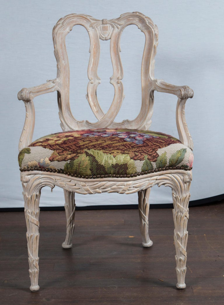 Italian Set of 10 Carved Wood Dining Chairs, Serge Roche Style For Sale