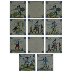 Set of Eleven Ceramic Wall Tiles by Servais of Germany Set 1, circa 1950