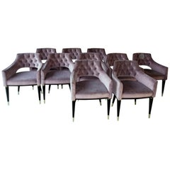 Set, 10 Dining Armchair, Tufted Velvet, Midcentury Style, Luxury Details Must Go
