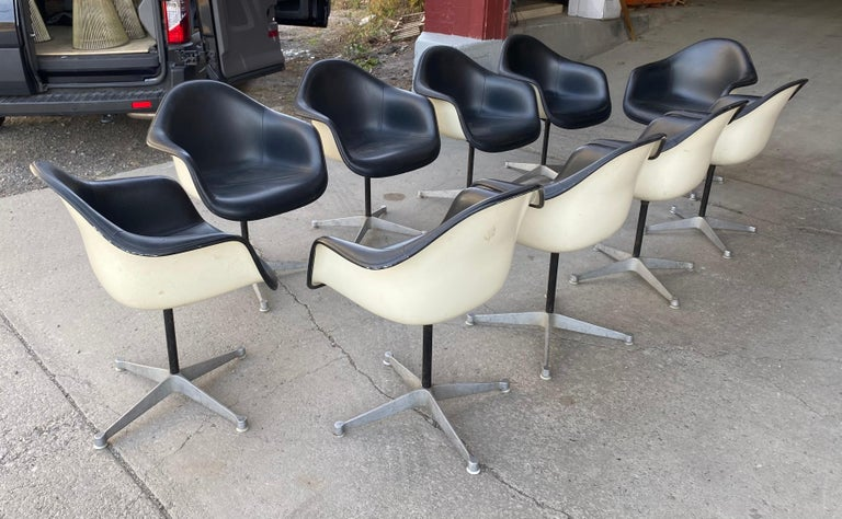 Set of 10 Eames Padded Arm Shell Swivel Chairs, Herman Miller/ Alum Star Base 3