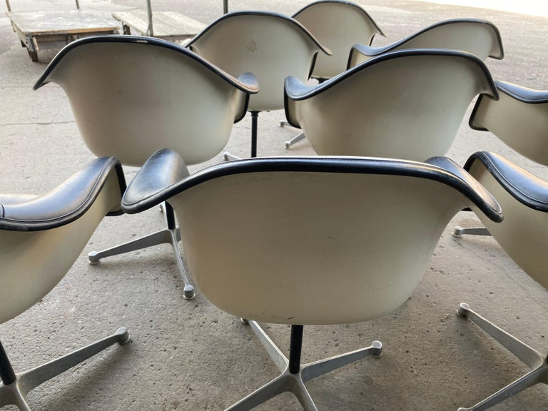 American Set of 10 Eames Padded Arm Shell Swivel Chairs, Herman Miller/ Alum Star Base