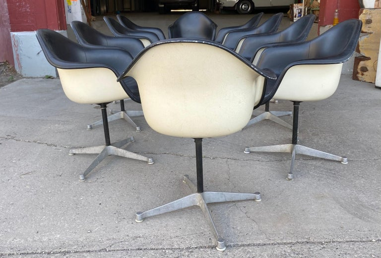 Set of 10 Eames Padded Arm Shell Swivel Chairs, Herman Miller/ Alum Star Base 2