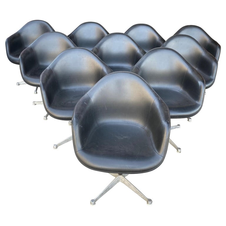 Set of 10 Eames Padded Arm Shell Swivel Chairs, Herman Miller/ Alum Star Base