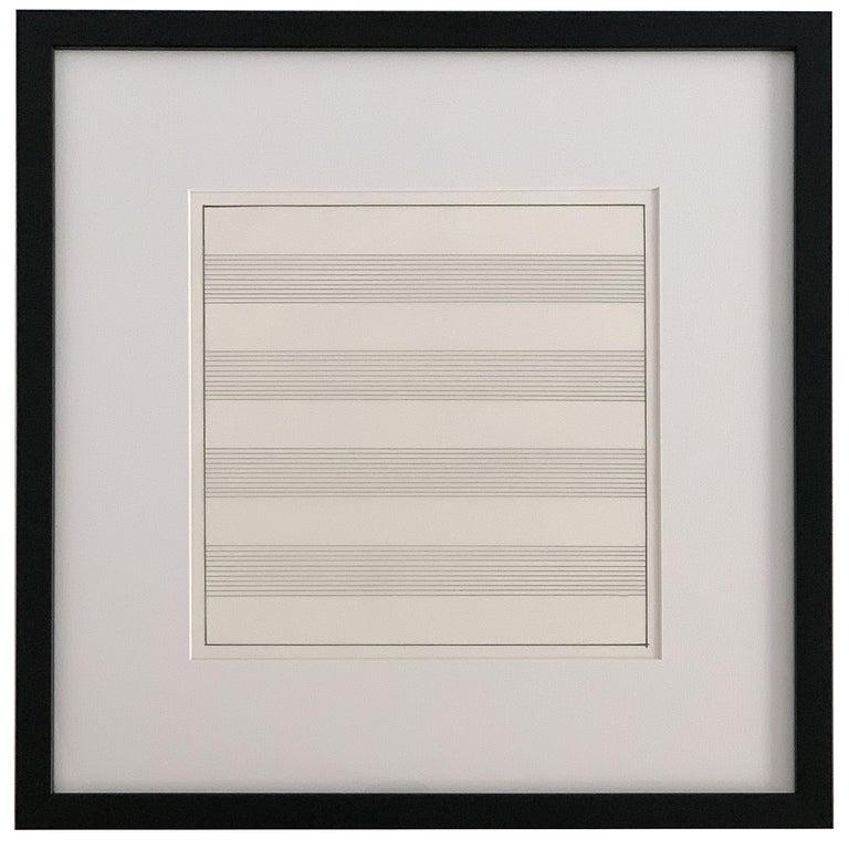 Modern Set 10 Framed Lithographs by Agnes Martin For Sale