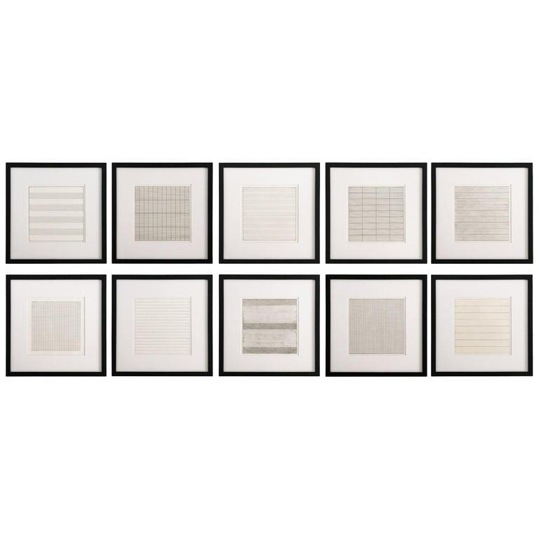 Set 10 Framed Lithographs by Agnes Martin For Sale