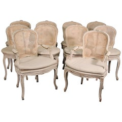 Set 10 French Louis XV White Painted Cane Maison Jansen Dining Chairs circa 1920