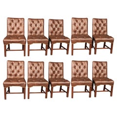 Set 10 Top Grain Leather Tufted Georgian Style Mahogany Conference Dining Chairs