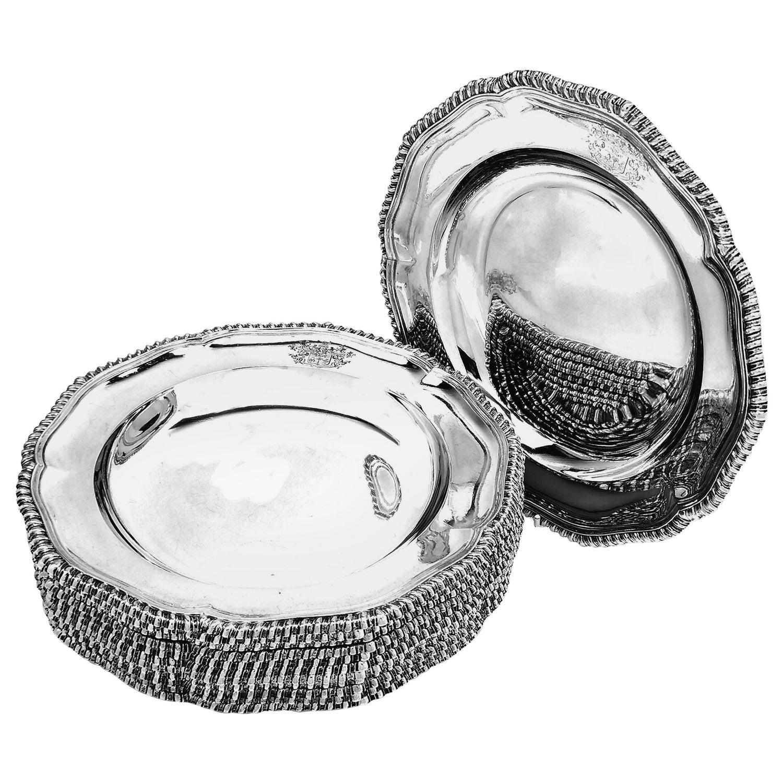 Set 12 Antique Victorian Sterling Silver Soup Plates 1874 Gadroon