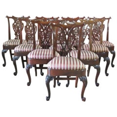 Set 12 Carved Mahogany English Chippendale Georgian Dining Chairs, Circa 1900