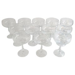 "Set 12 Deco Signed ""AS"" Phase I Collection Blown Lead Crystal Champagne Coupes"