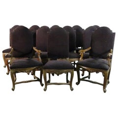 Set 12 French Carved Walnut Louis XV Style Dining Chairs