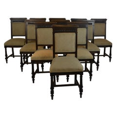 Set 12 French Dining Chairs with Carvings