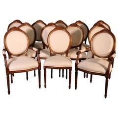 Set 12 Italian Made Luca Ferrari French Louis XVI Style Walnut Dining Chairs