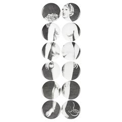Set 12 Porcelain Plates Eva Black/White