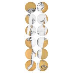 Set 12 Porcelain Plates Eva Black/White/Gold