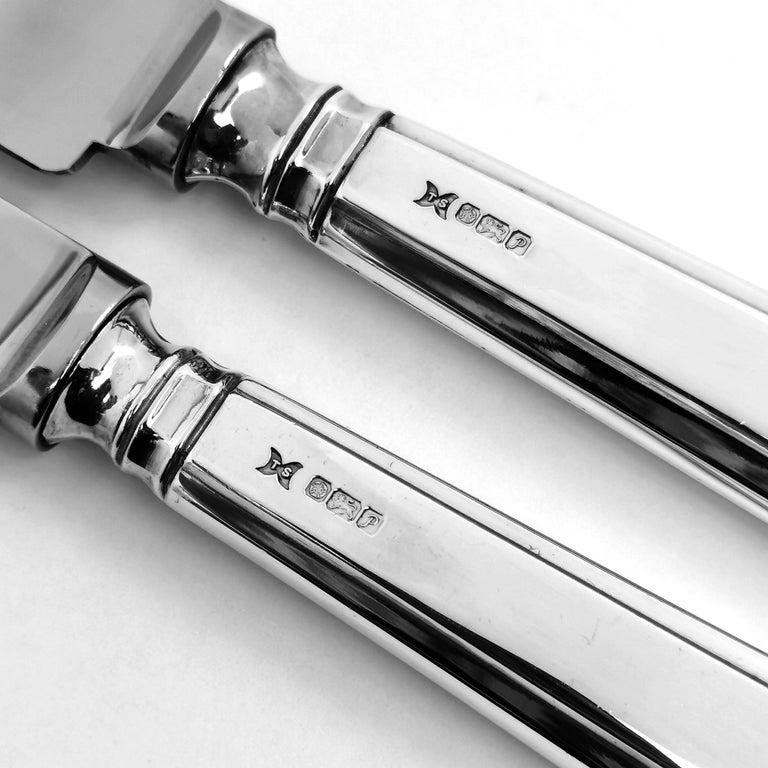 Sterling Silver Set of 12 Table Knives & 12 Dessert Knives Modern Art Deco Style Grecian Pattern
