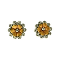 Set 18 Karat White, Rose Gold and Diamond Flower Studs and Pendant
