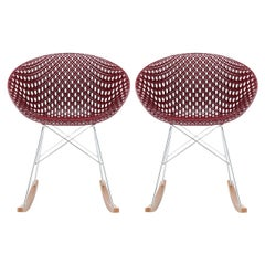 Set 2 Kartell Smatrik Rocking Chair in Plum with Chrome Legs by Tokujin Yoshioka