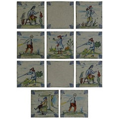 Set of Eleven Ceramic Wall Tiles by Servais of Germany Set 2, circa 1950