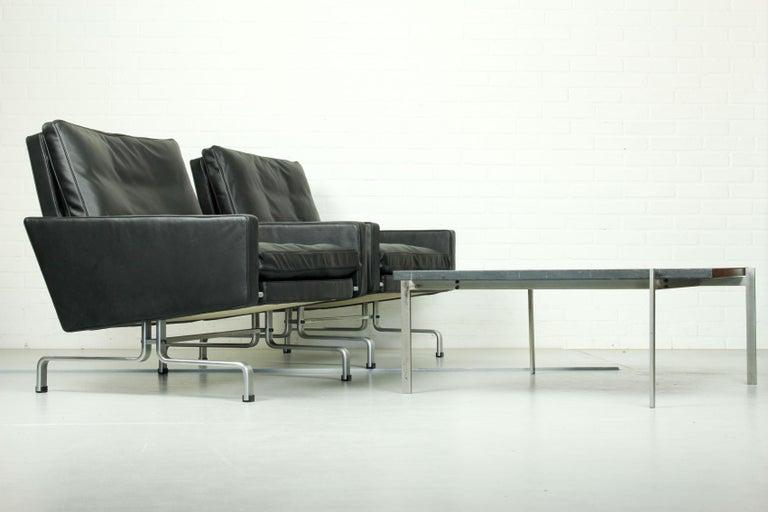 Set 2 Vintage PK31/1 Lounge Chair & PK61 Coffee Table by Poul Kjaerholm for E. K For Sale 8