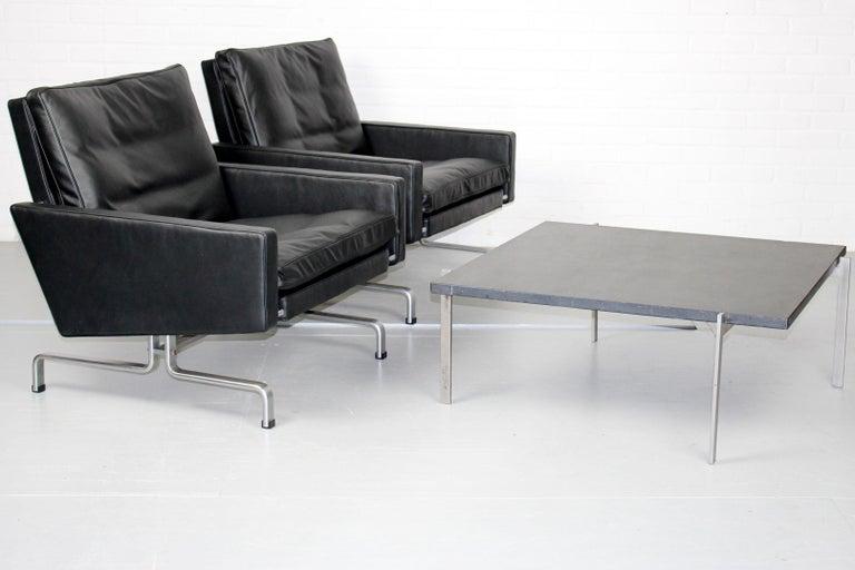 Set 2 Vintage PK31/1 Lounge Chair & PK61 Coffee Table by Poul Kjaerholm for E. K For Sale 9