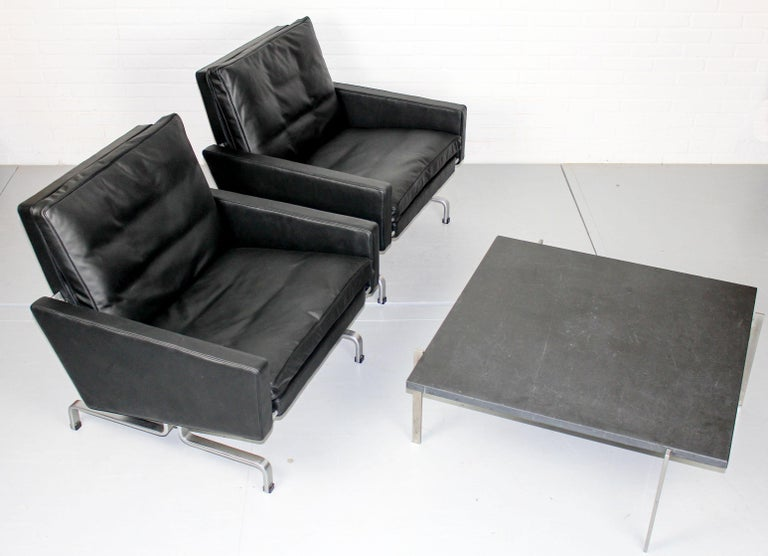 Set 2 Vintage PK31/1 Lounge Chair & PK61 Coffee Table by Poul Kjaerholm for E. K For Sale 10