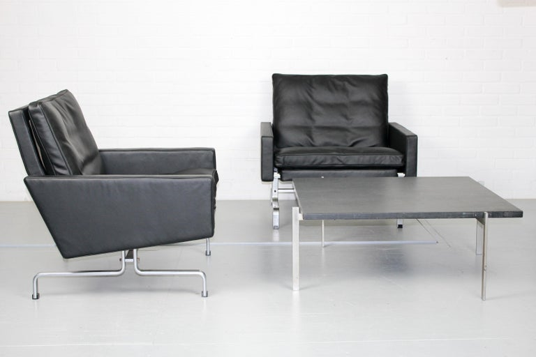 Set 2 Vintage PK31/1 Lounge Chair & PK61 Coffee Table by Poul Kjaerholm for E. K For Sale 11