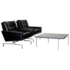 Set 2 Vintage PK31/1 Lounge Chair & PK61 Coffee Table by Poul Kjaerholm for E. K