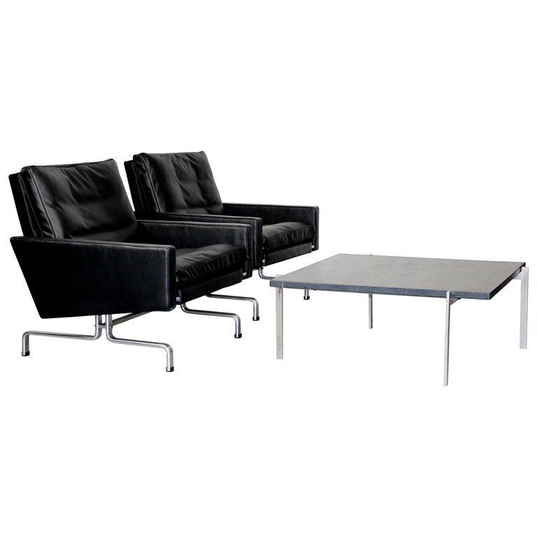 Set 2 Vintage PK31/1 Lounge Chair & PK61 Coffee Table by Poul Kjaerholm for E. K For Sale