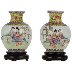 PRoC 1960-1970 Chinese Porcelain Vases Famille Rose eggshell Qianlong Mark
