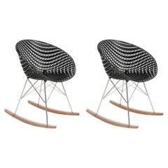 Set 2Kartell Smatrik Rocking Chair in Black with Chrome Legs by Tokujin Yoshioka