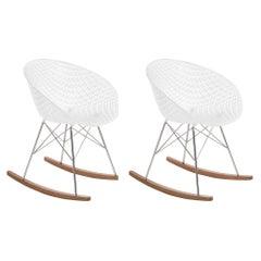 Set 2Kartell Smatrik Rocking Chair in White with Chrome Legs by Tokujin Yoshioka