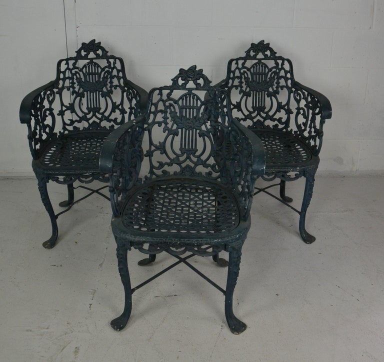 American Set of 3 1950s Garden / Patio Chairs For Sale