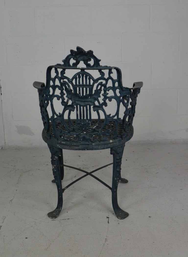 Metal Set of 3 1950s Garden / Patio Chairs For Sale