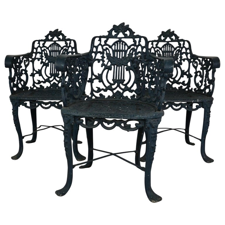 Set of 3 1950s Garden / Patio Chairs For Sale