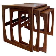 Set 3 English Mid-Century Modern Teak Wood Nesting Table End Coffee G Plan Style