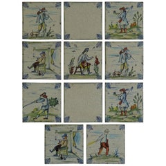 Set of Eleven Ceramic Wall Tiles by Servais of Germany Set 3, circa 1950