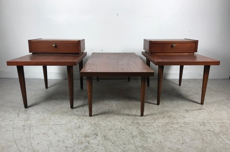 Mid-Century Modern Set 3 of Vintage American of Martinsville Tables with Aluminum Inlays For Sale