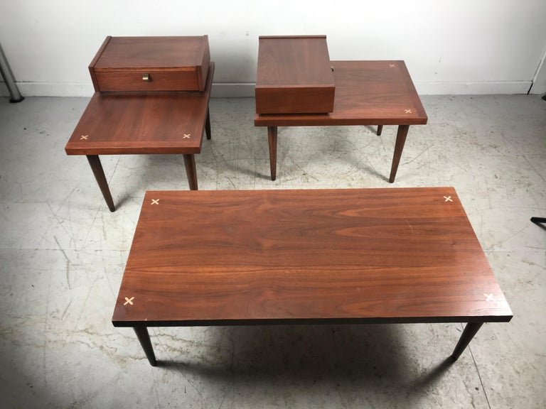 20th Century Set 3 of Vintage American of Martinsville Tables with Aluminum Inlays For Sale