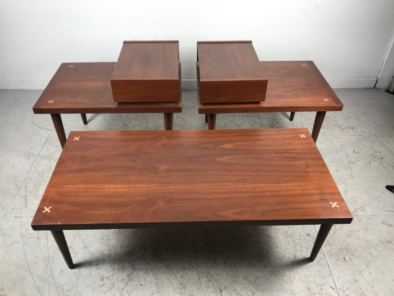 Set 3 of Vintage American of Martinsville Tables with Aluminum Inlays For Sale 1